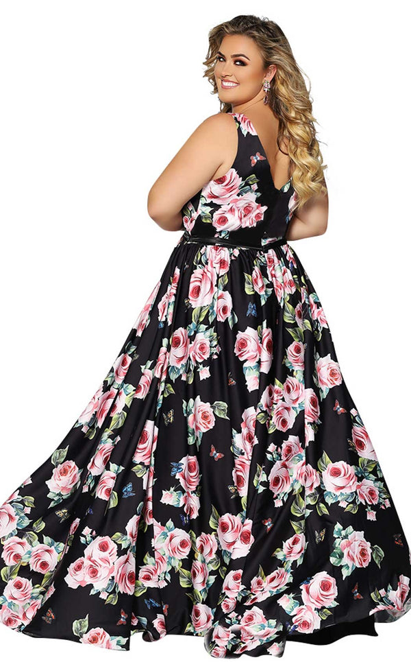 Sydneys Closet SC7296 Dress Black-Floral