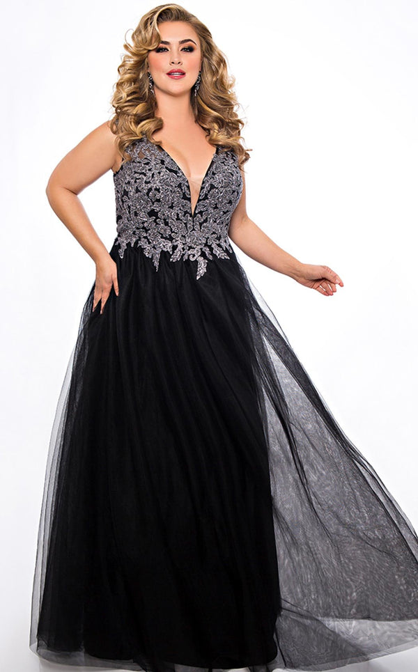 Sydneys Closet SC7298 Dress Black-Silver