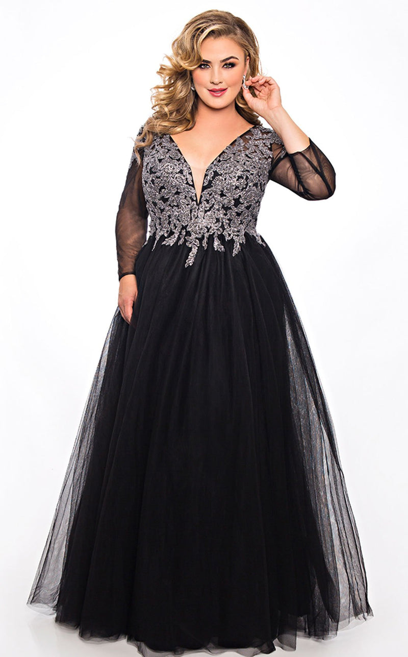 Sydneys Closet SC7299 Dress Black-Silver