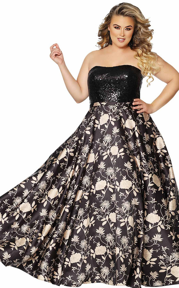 Sydneys Closet SC7300 Dress Black-Gold