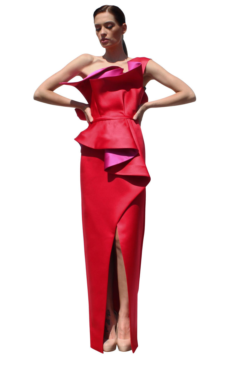 Edward Arsouni Couture SS587 Dress Red-Fuchsia