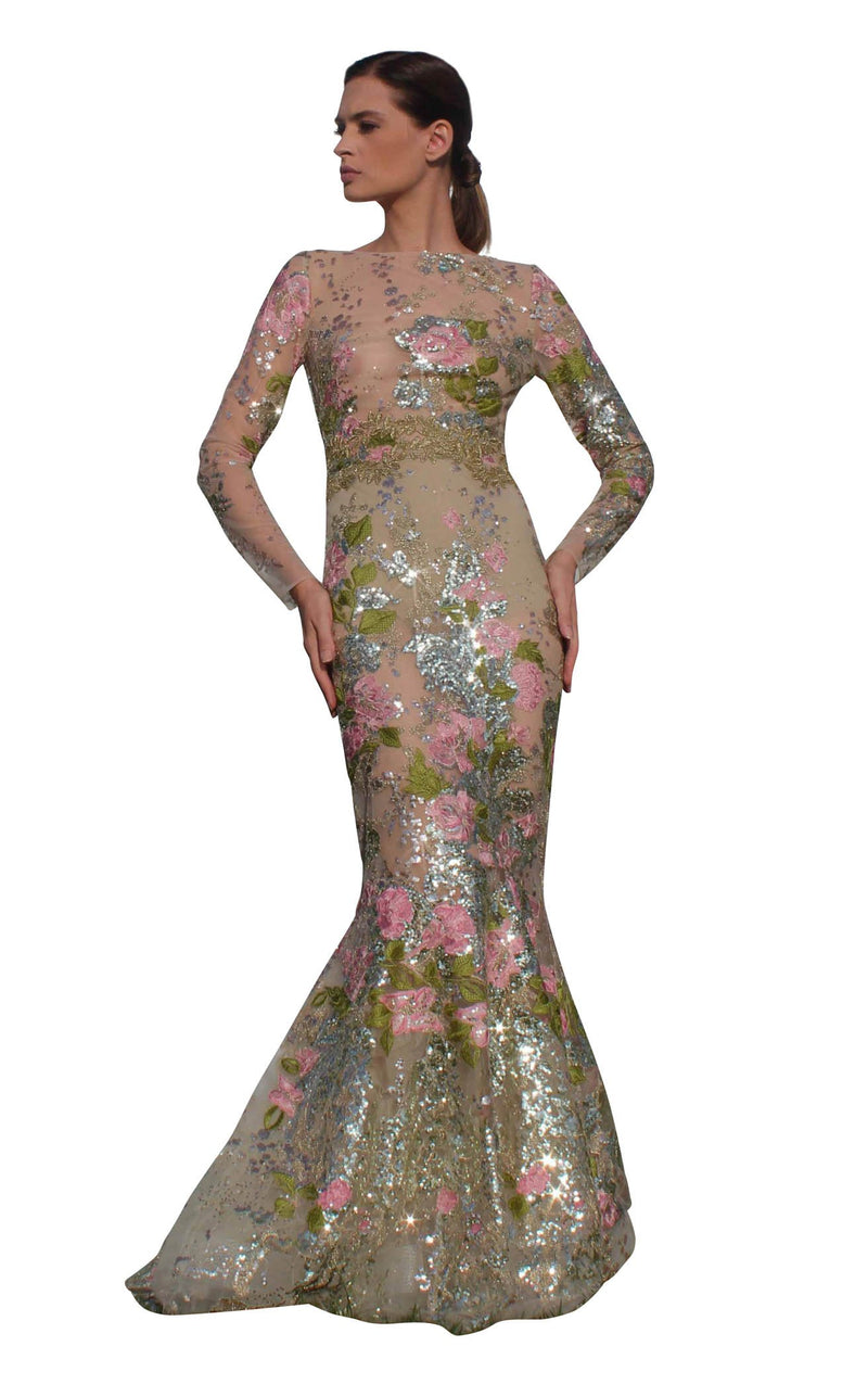 Edward Arsouni Couture SS595 Dress Nude-Multi