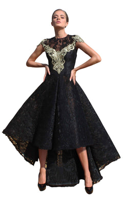 Edward Arsouni Couture SS614 Dress Black-Gold