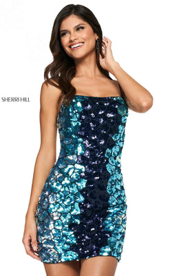 Sherri Hill 54079 Navy/Light Blue