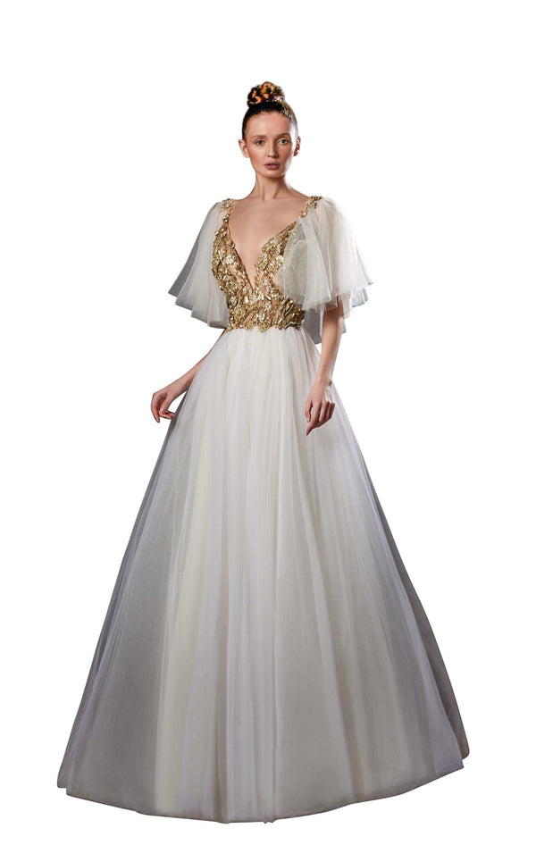 Ziad Germanos ZG46 Dress Ivory-Gold
