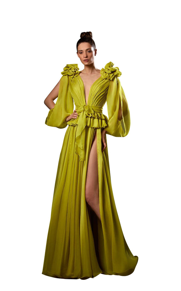 Ziad Germanos ZG87 Dress Chartreuse