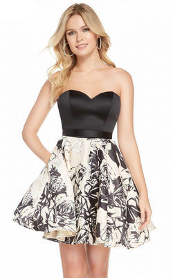 Alyce 3898 Dress Black-French Vanilla