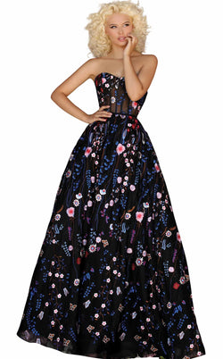 Clarisse 8243 Dress Black-Royal-Multi