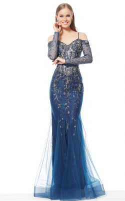 Jovani 1201 Dress Navy Gunmetal