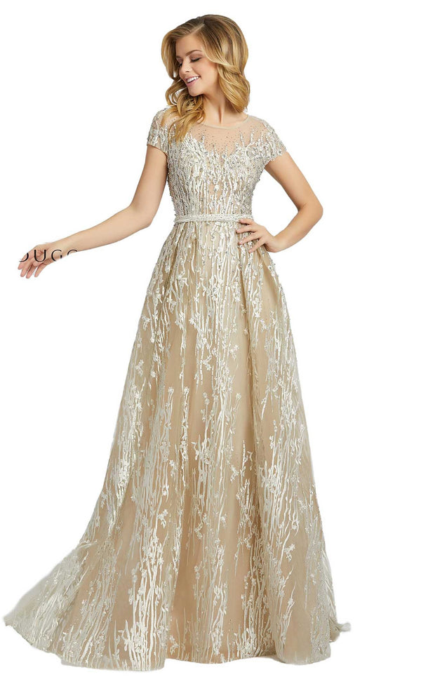 Mac Duggal 20141D Dress Silver Nude