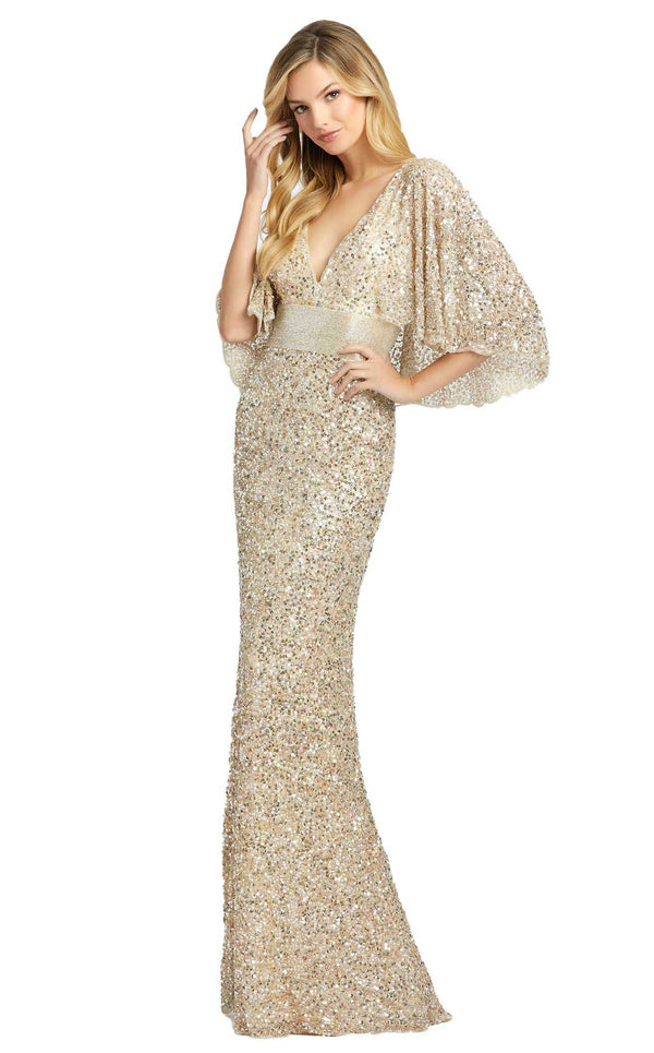 Mac Duggal 4808D Dress Nude Gold