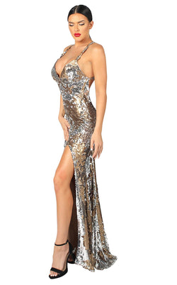 Nicole Bakti 6975 Dress Silver-Gold