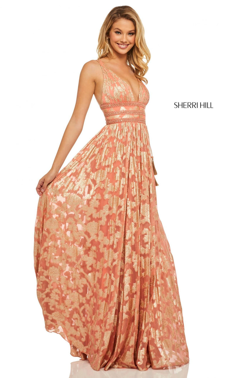 Sherri Hill 52474 Dress Coral-Gold