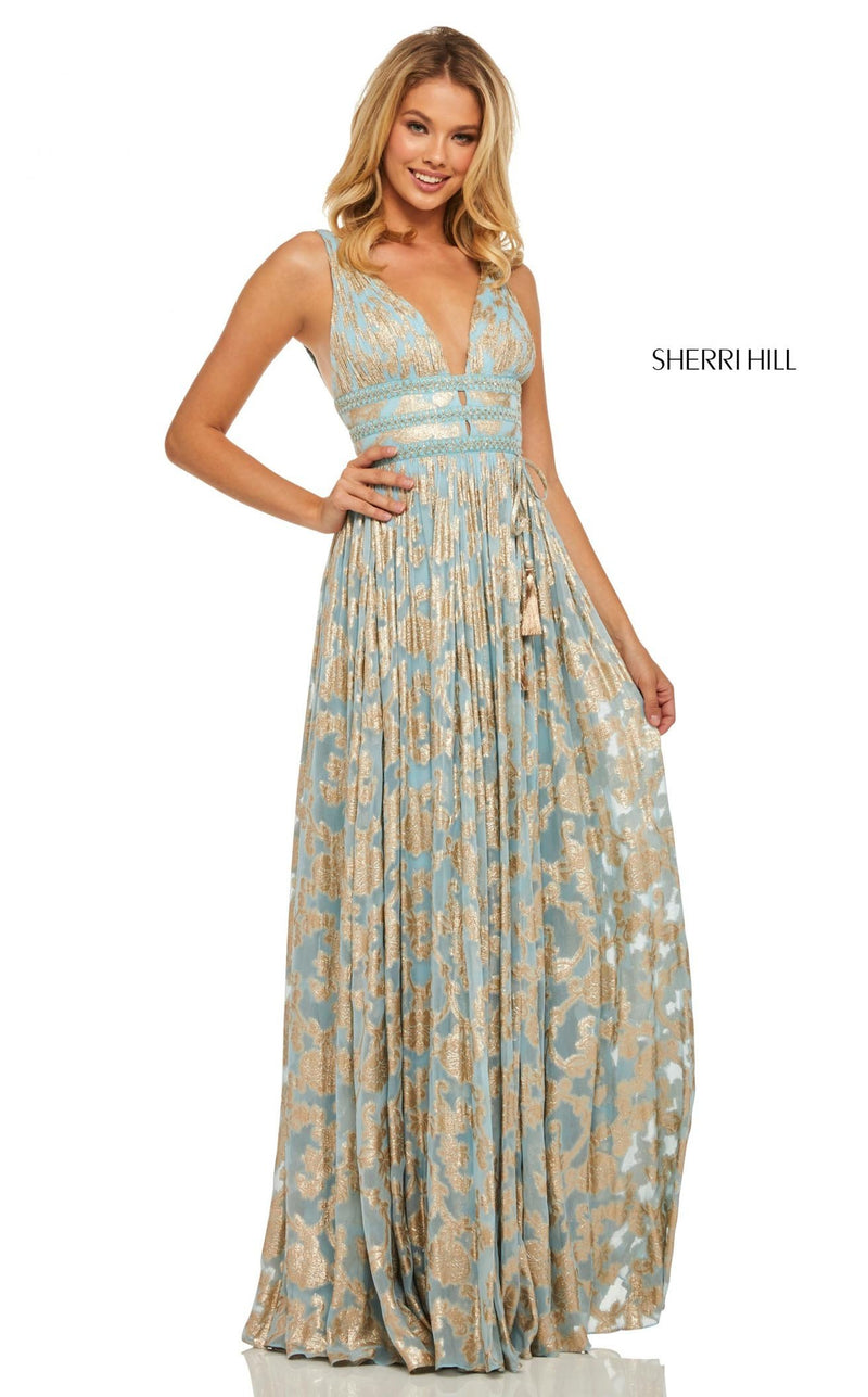 Sherri Hill 52474 Dress Light-Blue-Gold