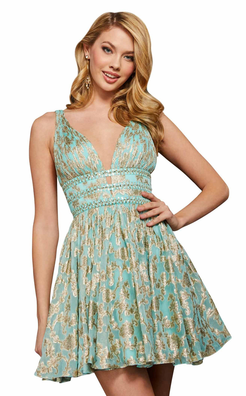 Sherri Hill 52965 Aqua-Gold