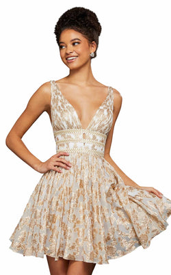 Sherri Hill 52965 Ivory-Gold