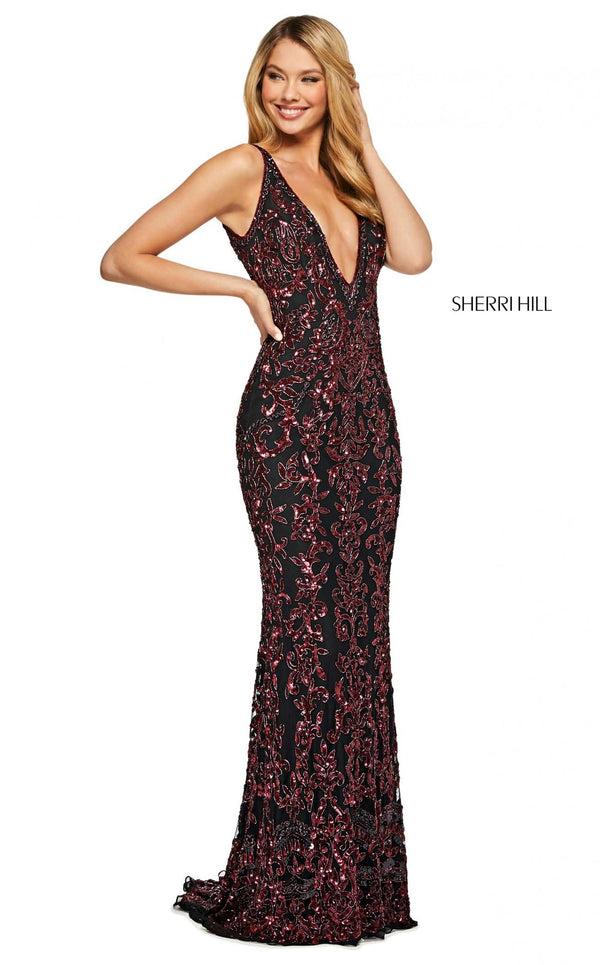 Sherri Hill 53006 Dress Black-Burgundy