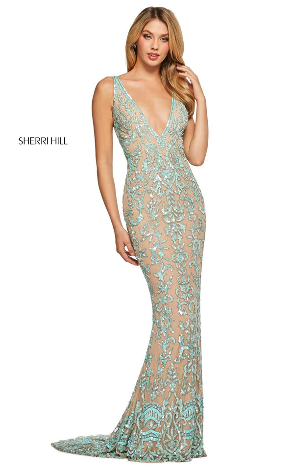 Sherri Hill 53006 Dress Nude-Aqua