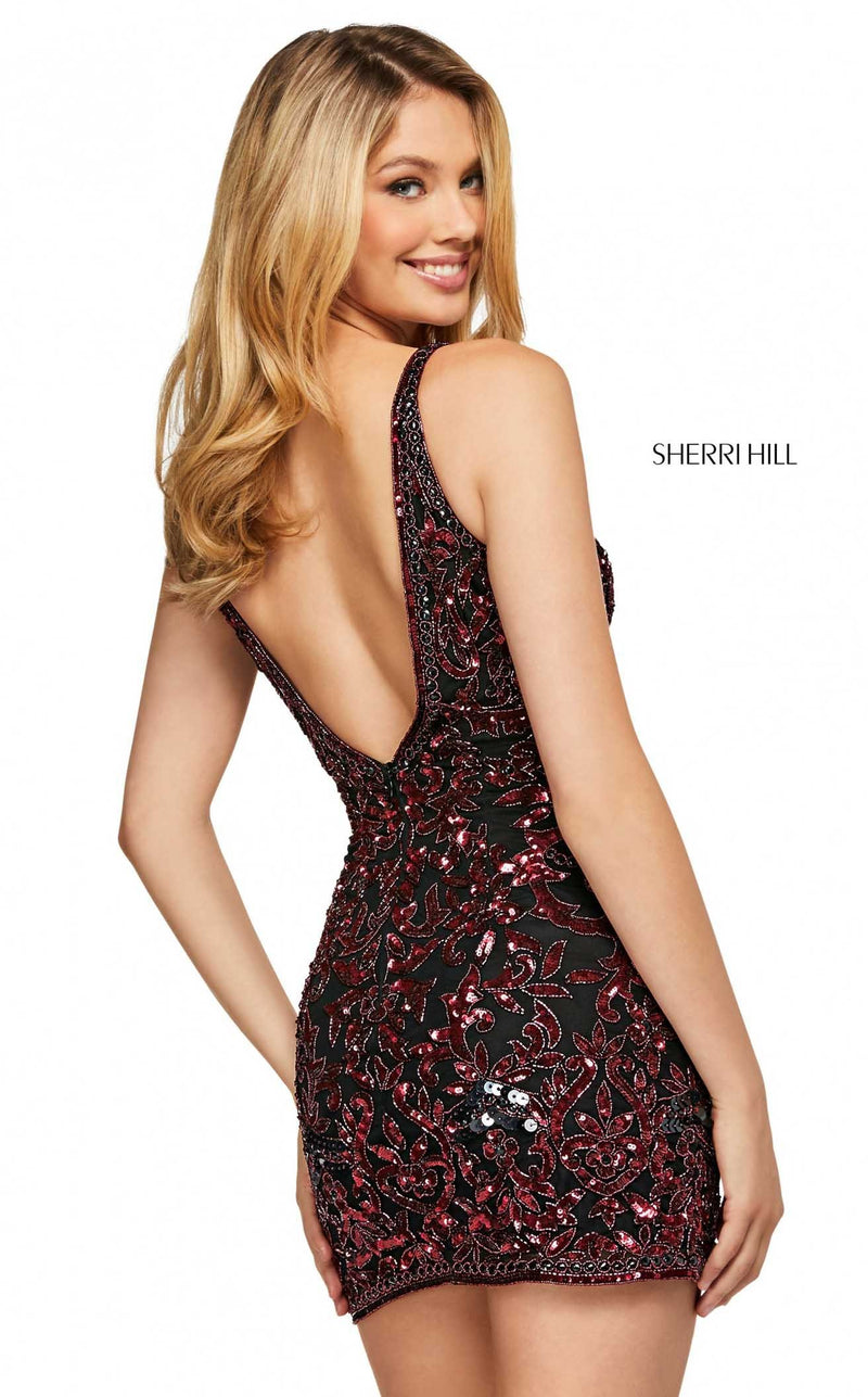 Sherri Hill 53122 Dress Black-Burgundy