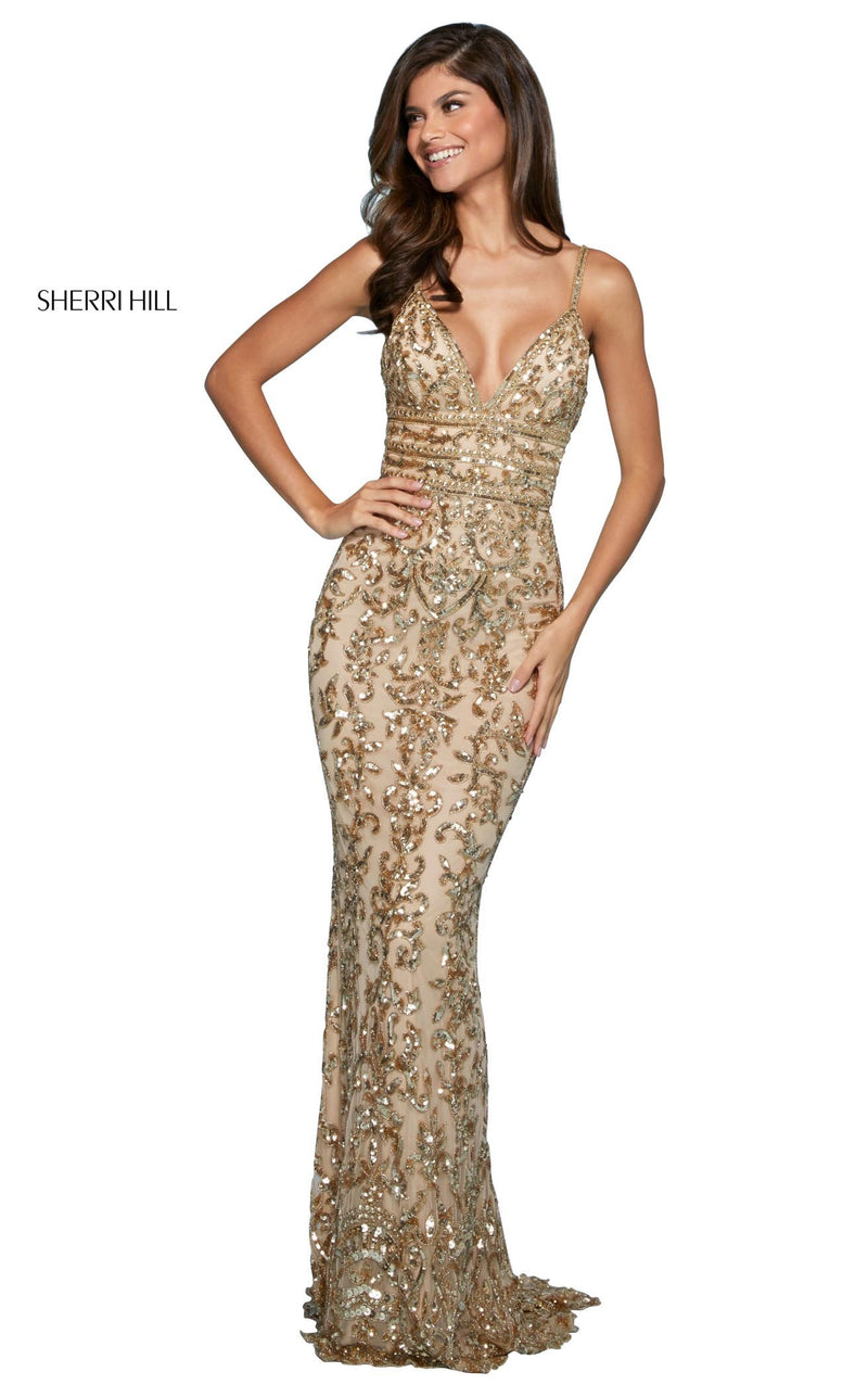 Sherri Hill 53136 Dress Nude-Gold