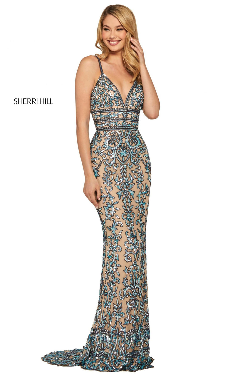 Sherri Hill 53136 Dress Nude-Light-Blue