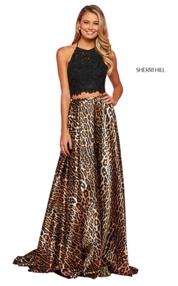 Sherri Hill 53369 Dress Black-Animal