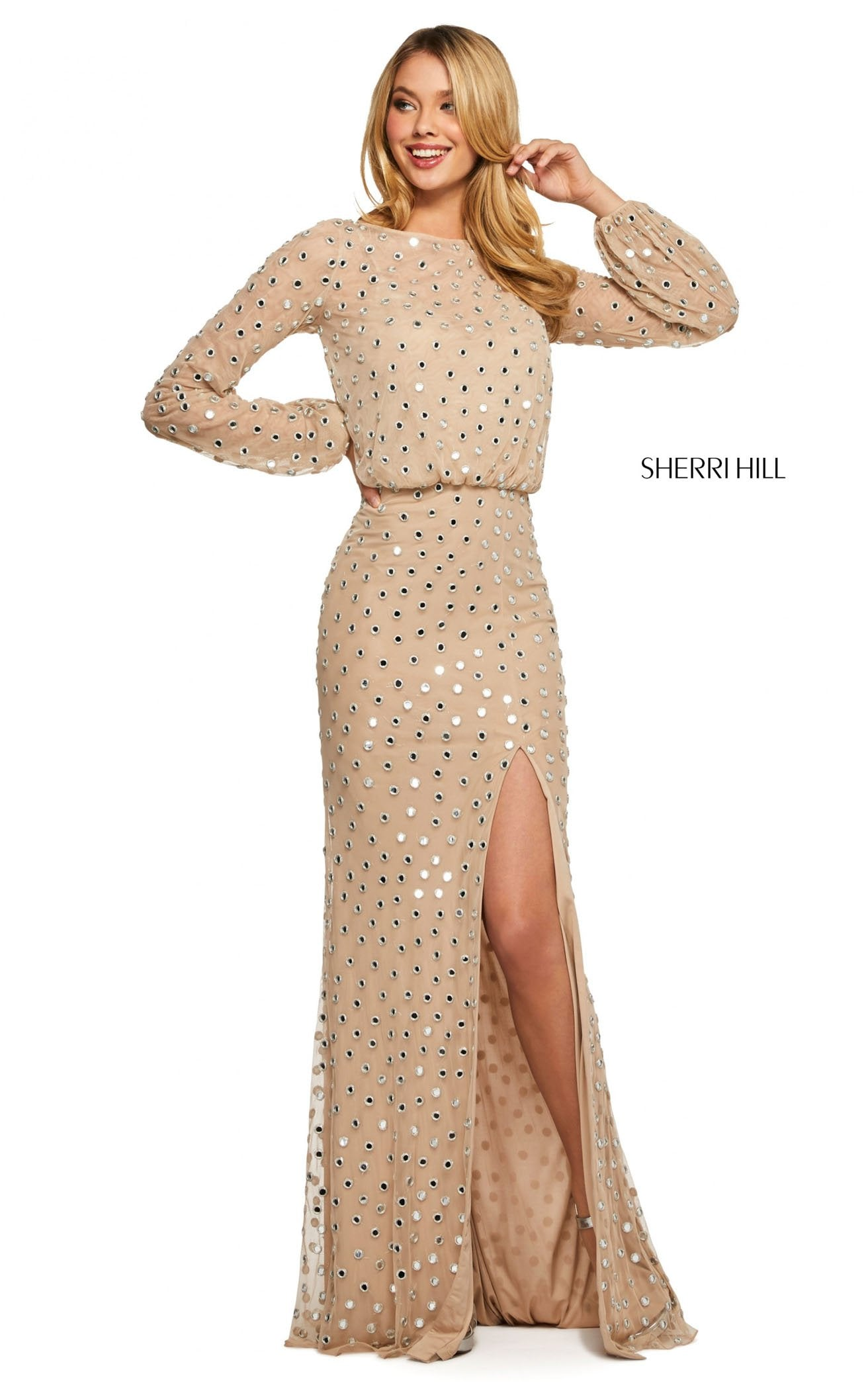 Sherri Hill 53491 Dress Nude-Silver / 0