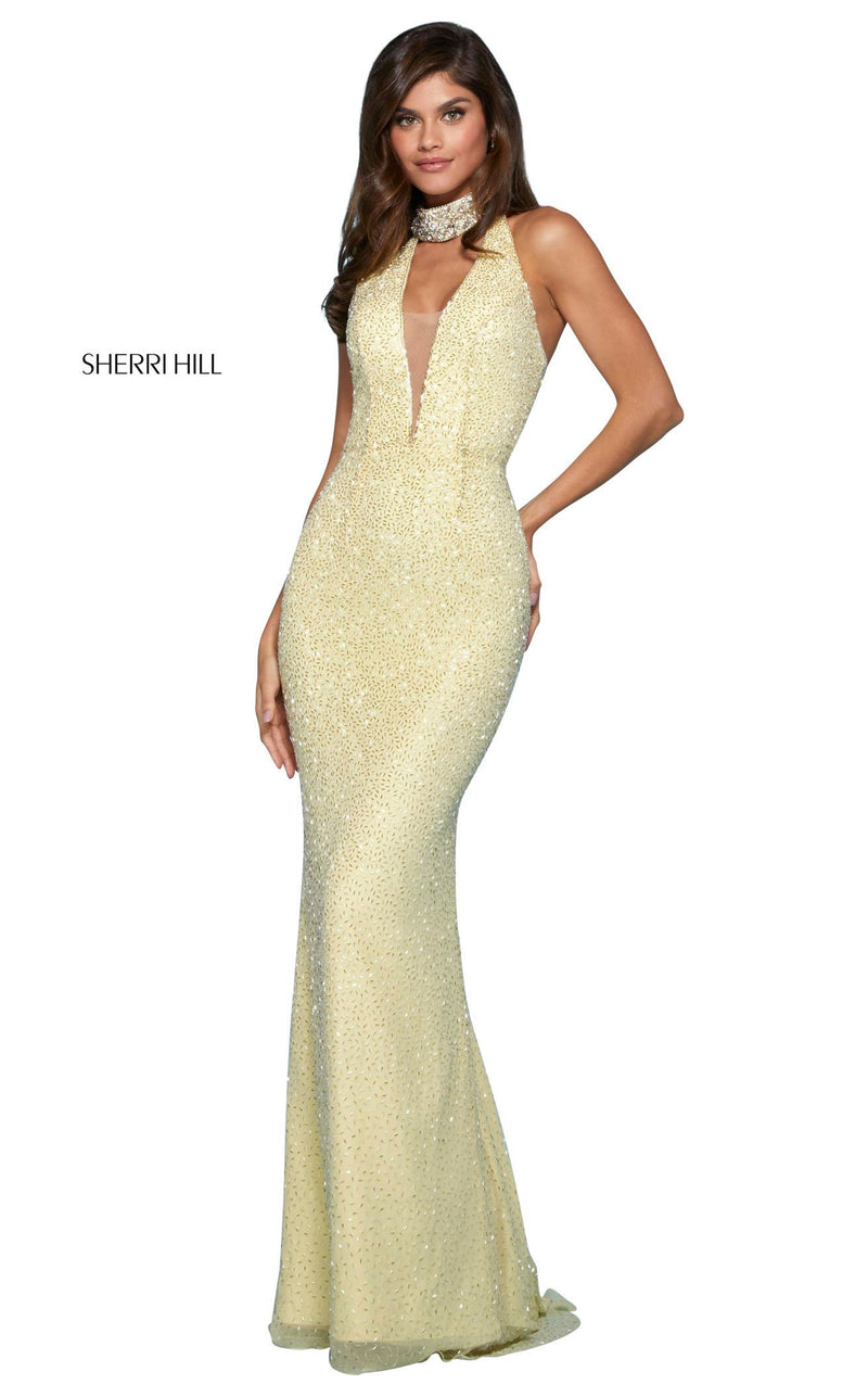 Sherri Hill 53495 Dress Yellow-Silver