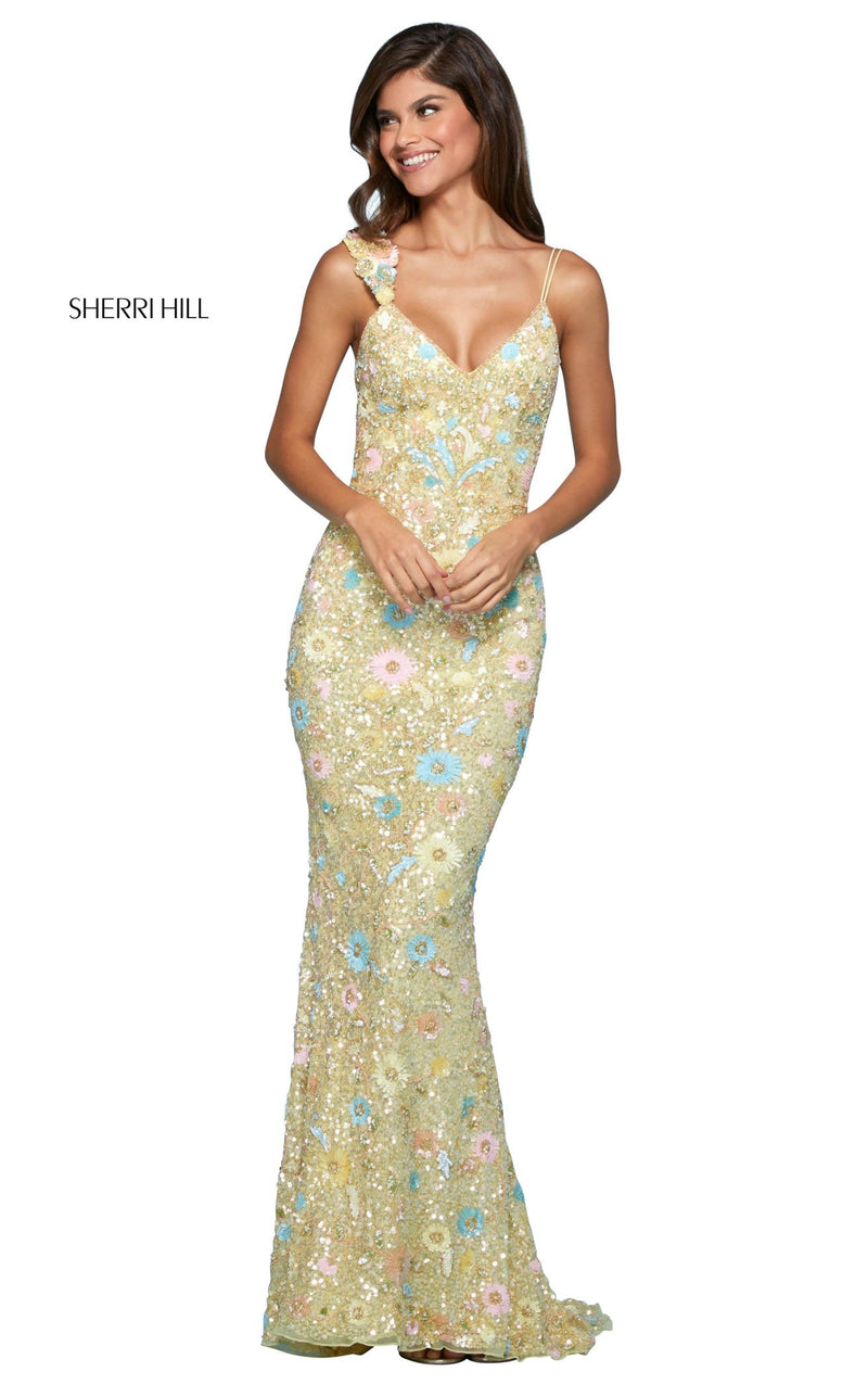 Sherri Hill 53558 Dress Light-Yellow-Multi