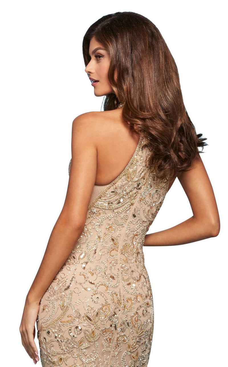 Sherri Hill 53609 Dress Nude-Gold-Silver
