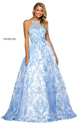 Sherri Hill 53620 Dress Ivory-Blue