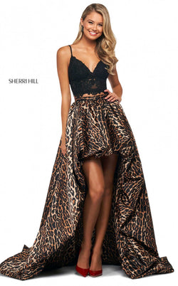 Sherri Hill 53721 Dress Black-Animal