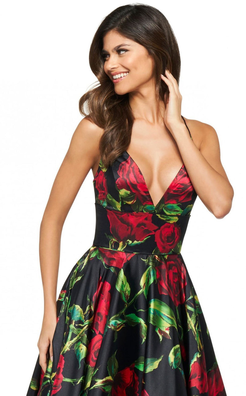Sherri Hill 53896 Dress Black-Red-Print