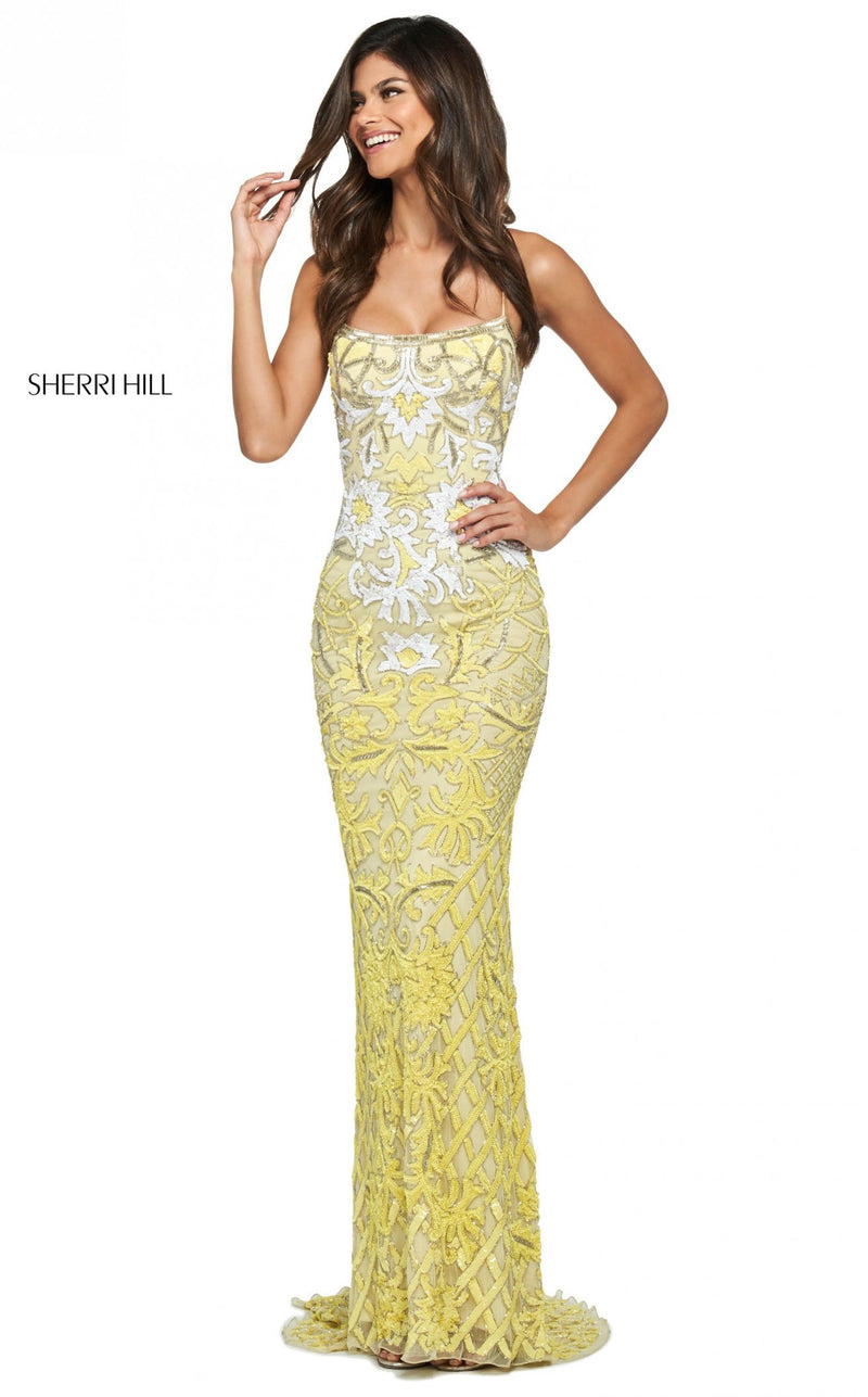 Sherri Hill 53903 Dress Yellow-Ivory