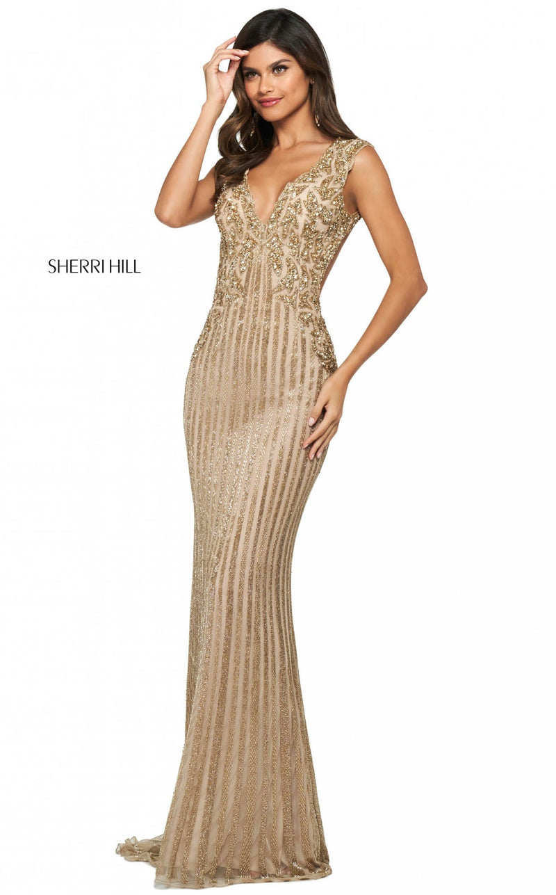 Sherri Hill 53915 Dress Nude-Gold