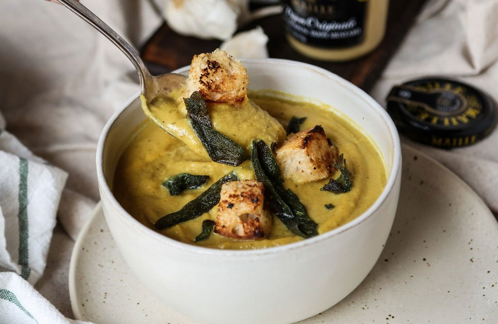 Cauliflower Soup with Crispy  Sage & Croutons