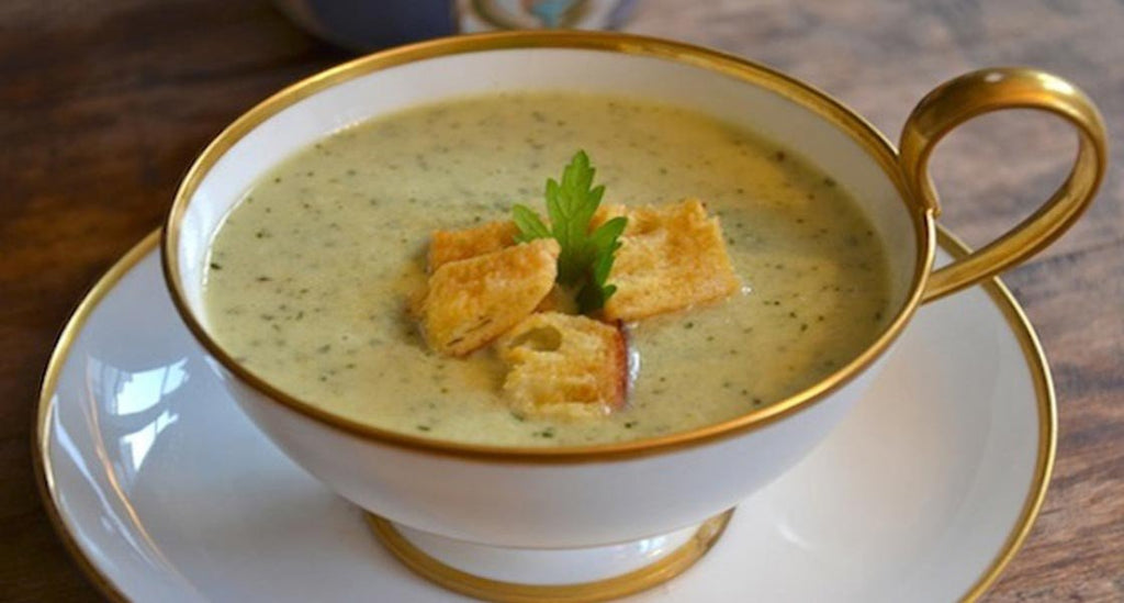Cucumber Gazpacho with Mustard Croutons