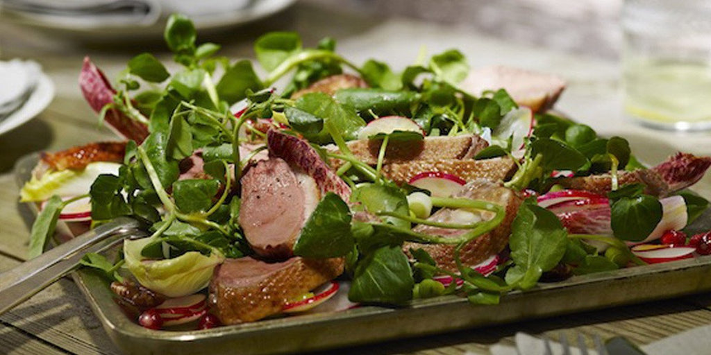 Duck, Chicory and Pomegranate Salad with Caramelised Pecans and a Maille dressing