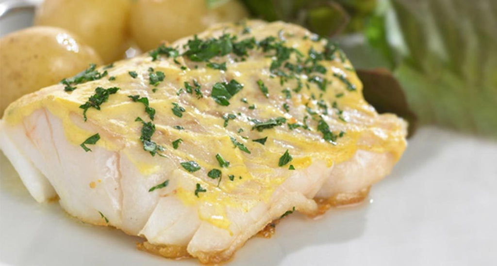 Pan-Fried Cod Steaks with Mustard Glaze