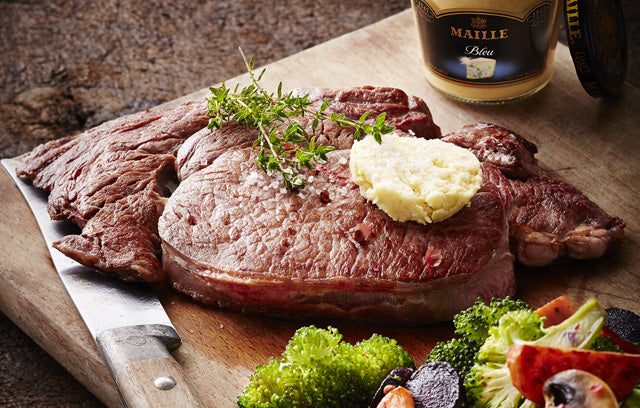 Grilled Rib Steak with Blue Cheese Mustard