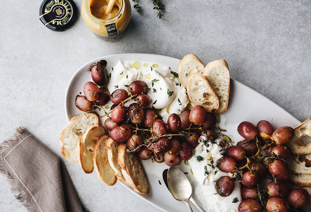Roasted Grapes with Burrata