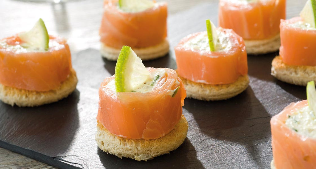 Smoked Salmon Roulade, with Cream Cheese and <br>Maille Sundried Tomato Cornichons
