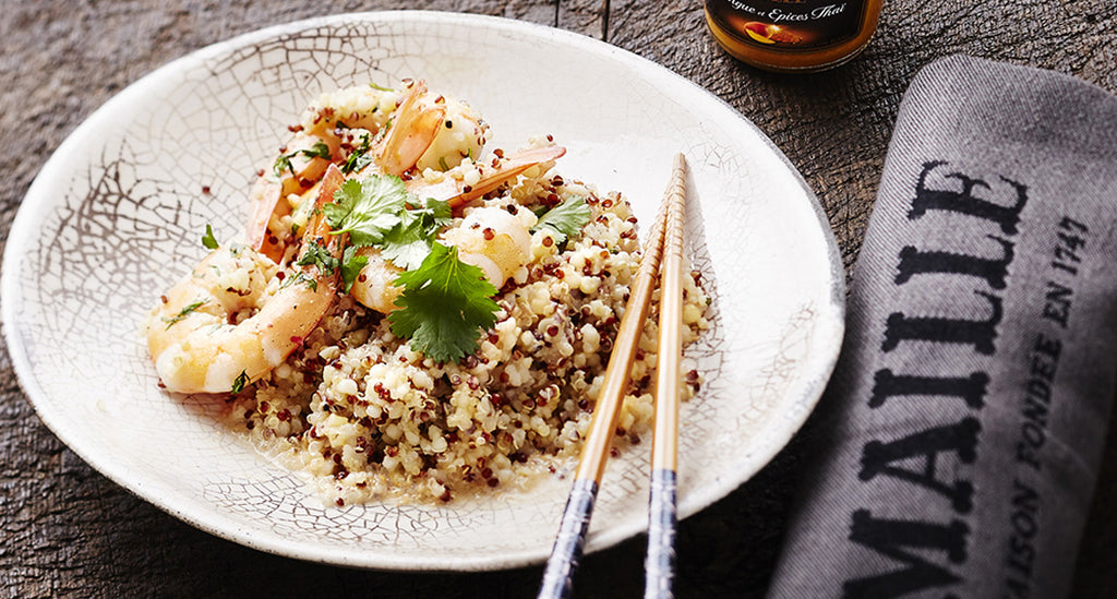 Quinoa with shrimp and Mango & Thai Spices mustard