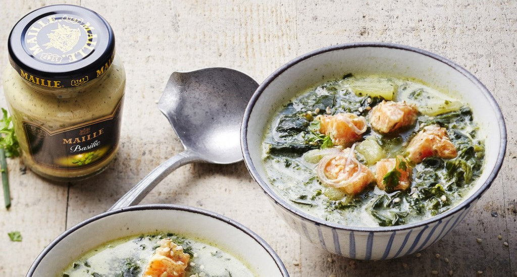 Spinach Soup with Salmon and Dill and Lime Mustard