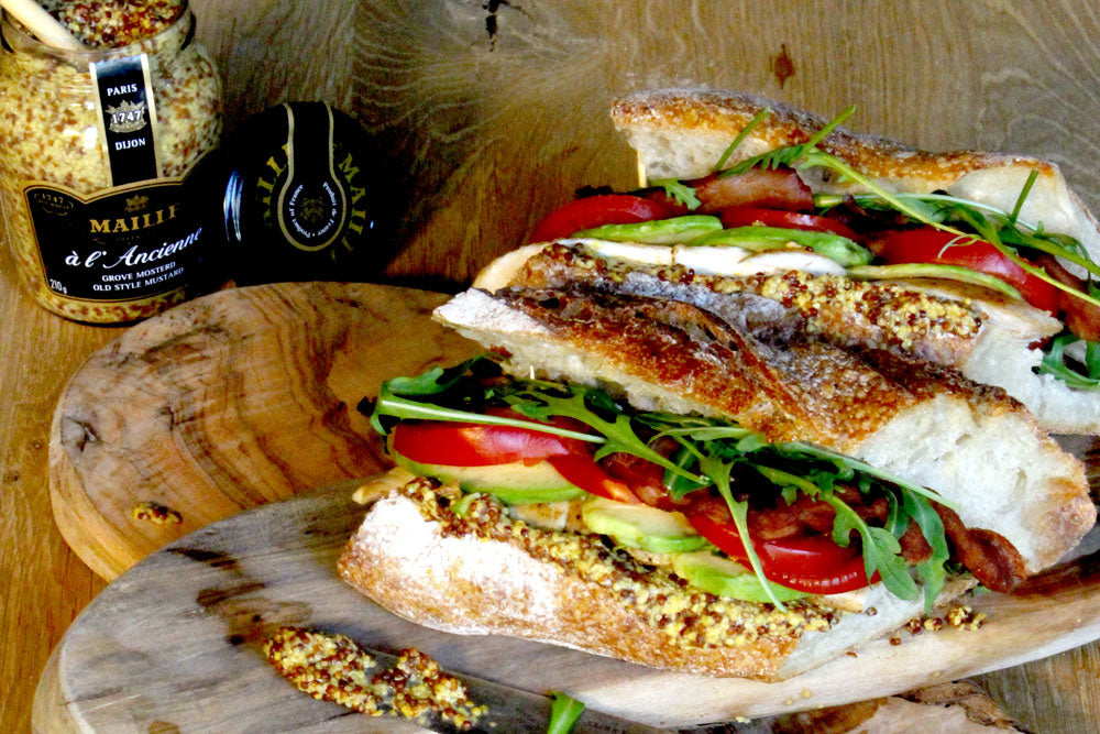 Baguette Sandwich with Maille Wholegrain Mustard