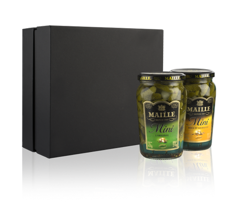 Maille Gourmet Mini Cornichons Duo Selection out of box