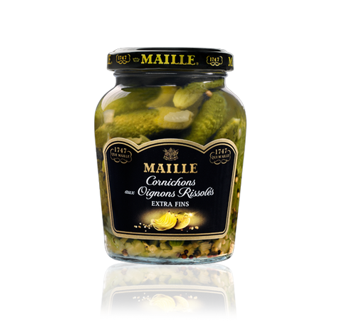 Maille Cornichons Gherkin with Sautéed Onions and White Wine Vinegar, 210g