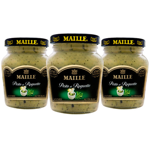 Bundle of 3 x Pesto and Rocket Lettuce Mustard with White Wine, 108g