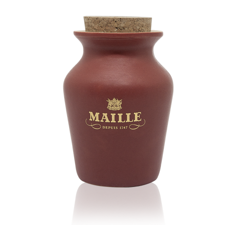 Maille Black Pepper and Whisky Terracotta Jar front view