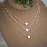 Mini Heart Necklace : available in silver, gold, and rose gold.